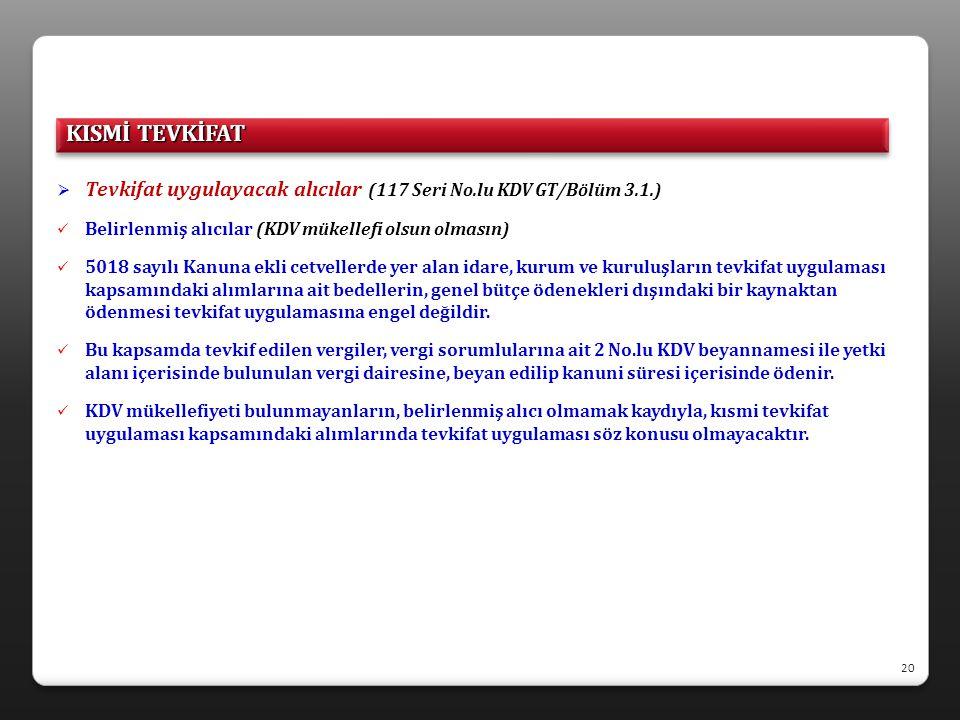 KISMİ TEVKİFAT Tevkifat uygulayacak alıcılar (117 Seri No.lu KDV GT/Bölüm 3.1.) Belirlenmiş alıcılar (KDV mükellefi olsun olmasın)
