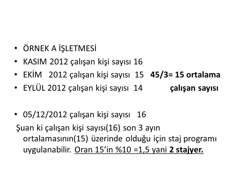 ÖRNEK A İŞLETMESİ KASIM 2012 çalışan kişi sayısı 16. EKİM 2012 çalışan kişi sayısı 15 45/3= 15 ortalama.