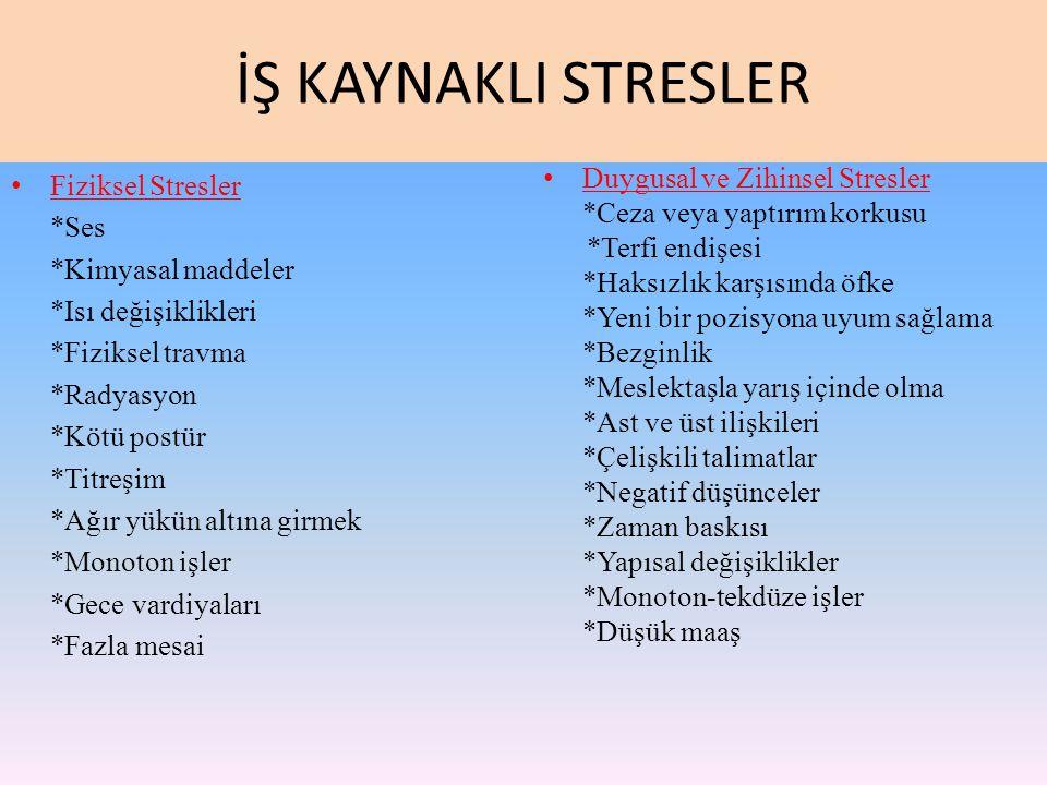 İŞ KAYNAKLI STRESLER Fiziksel Stresler *Ses *Kimyasal maddeler