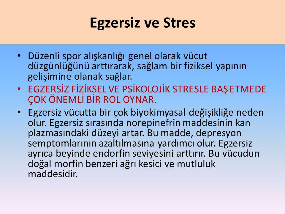 Egzersiz ve Stres Düzenli spor alışkanlığı genel olarak vücut düzgünlüğünü arttırarak, sağlam bir fiziksel yapının gelişimine olanak sağlar.