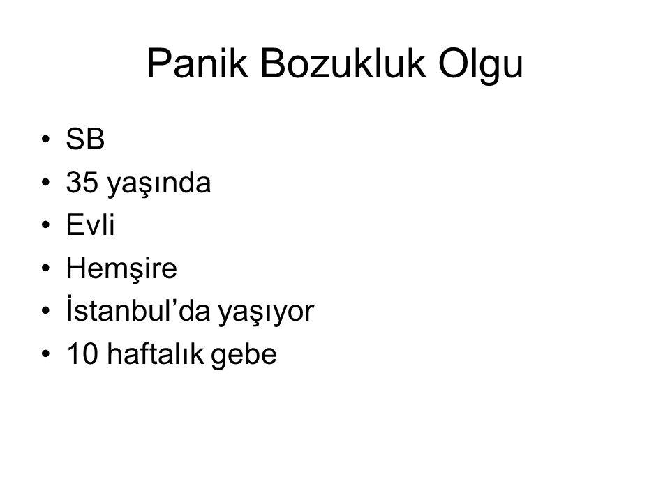Panik Bozukluk Olgu SB 35 yaşında Evli Hemşire İstanbul'da yaşıyor