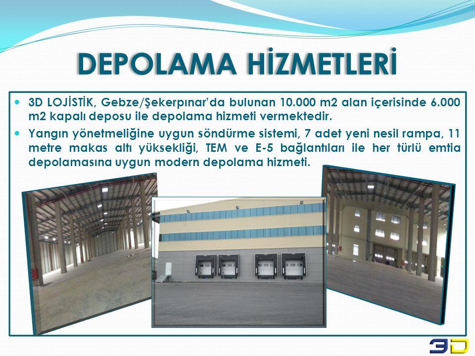 DEPOLAMA HİZMETLERİ 3D LOJİSTİK, Gebze/Şekerpınar'da bulunan 10.000 m2 alan içerisinde 6.000 m2 kapalı deposu ile depolama hizmeti vermektedir.