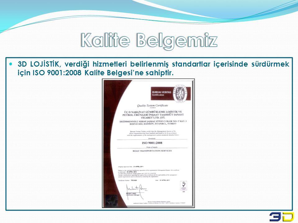 Kalite Belgemiz 3D LOJİSTİK, verdiği hizmetleri belirlenmiş standartlar içerisinde sürdürmek için ISO 9001:2008 Kalite Belgesi'ne sahiptir.