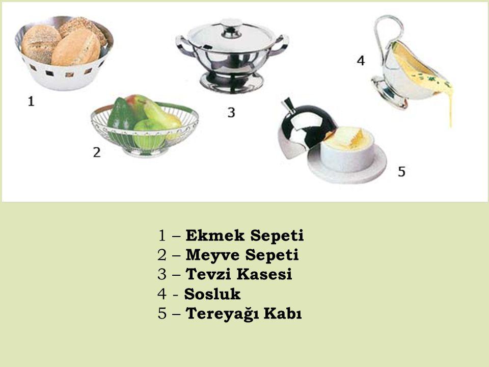 1 – Ekmek Sepeti 2 – Meyve Sepeti 3 – Tevzi Kasesi 4 - Sosluk 5 – Tereyağı Kabı