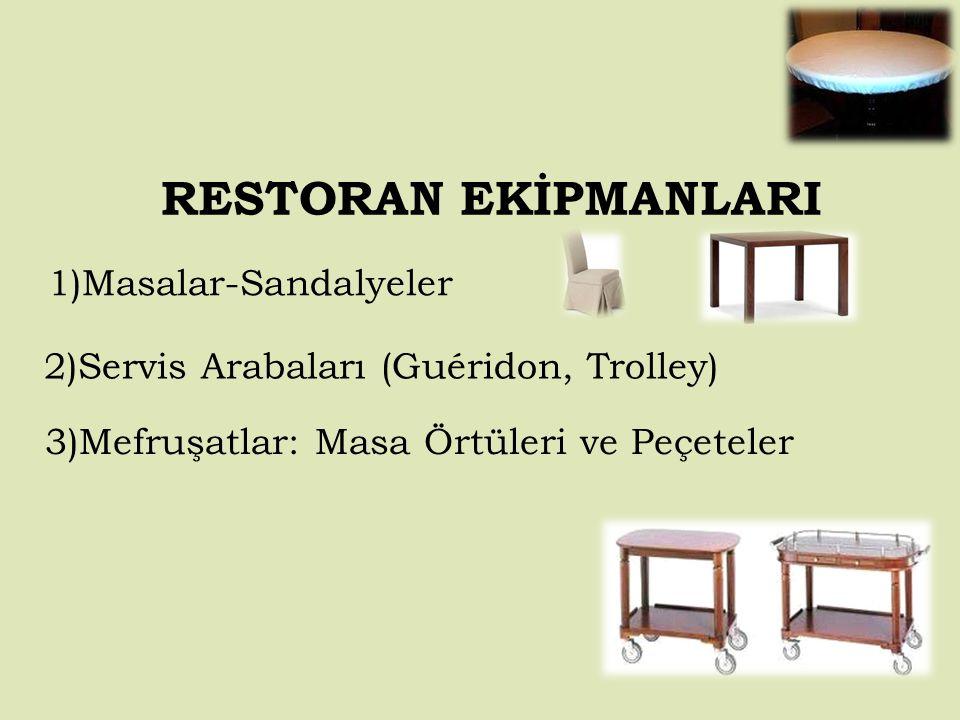 RESTORAN EKİPMANLARI 1)Masalar-Sandalyeler