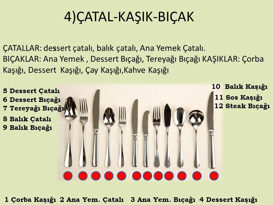 4)ÇATAL-KAŞIK-BIÇAK ÇATALLAR: dessert çatalı, balık çatalı, Ana Yemek Çatalı.