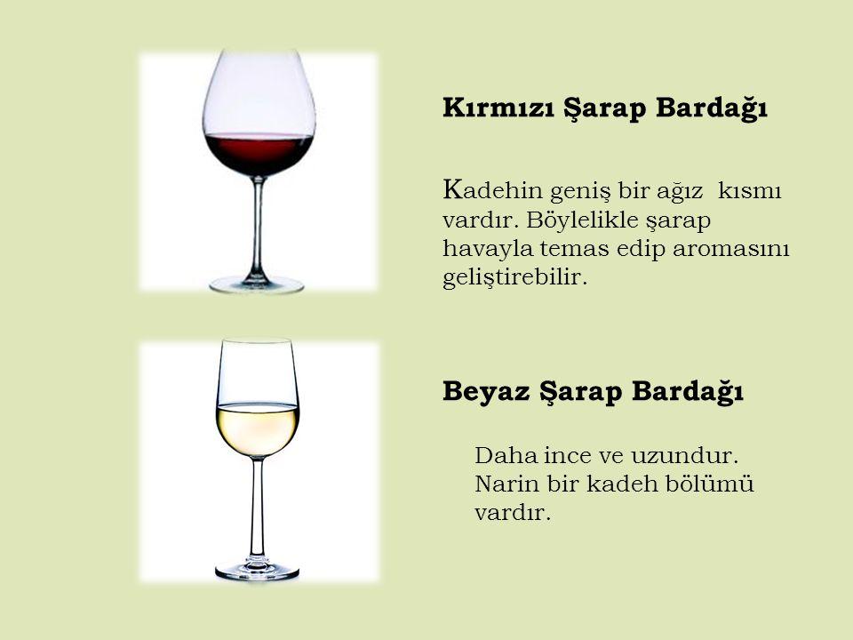 Kırmızı Şarap Bardağı Kadehin geniş bir ağız kısmı vardır. Böylelikle şarap havayla temas edip aromasını geliştirebilir.