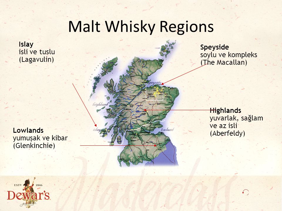 Malt Whisky Regions Islay isli ve tuslu (Lagavulin)