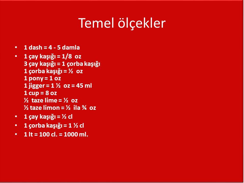 Temel ölçekler 1 dash = 4 - 5 damla