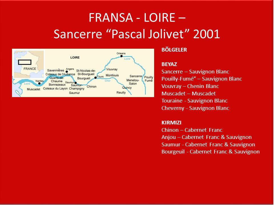 FRANSA - LOIRE – Sancerre Pascal Jolivet 2001