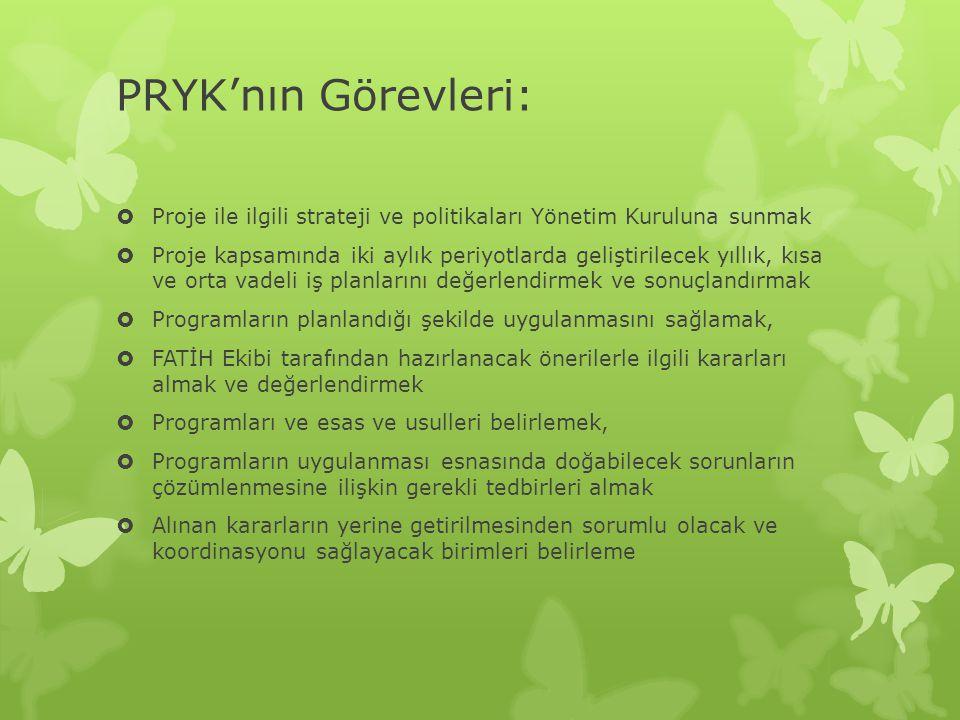 PRYK'nın Görevleri: Proje ile ilgili strateji ve politikaları Yönetim Kuruluna sunmak.