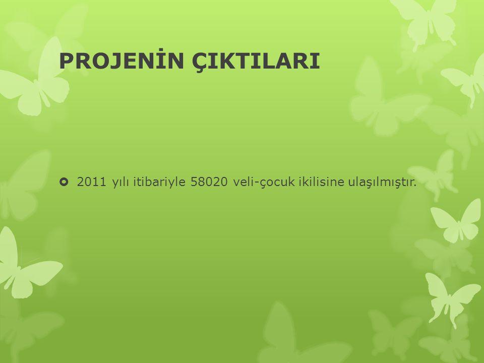 PROJENİN ÇIKTILARI 2011 yılı itibariyle 58020 veli-çocuk ikilisine ulaşılmıştır.