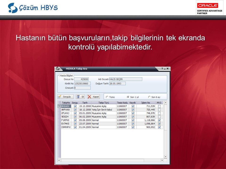 Çözüm HBYS Hastanın bütün başvuruların,takip bilgilerinin tek ekranda kontrolü yapılabimektedir.