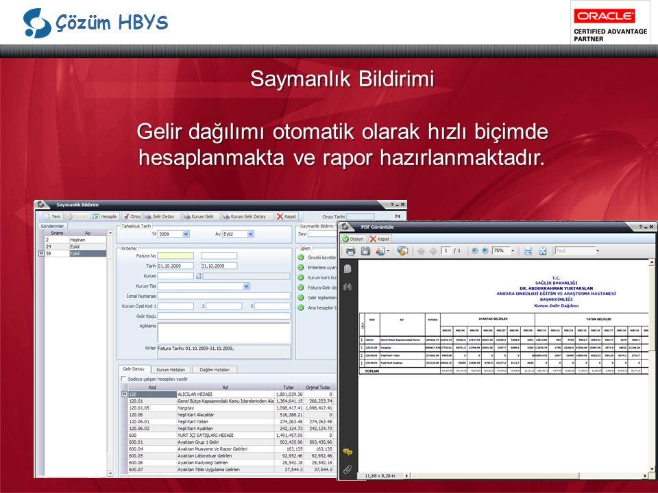 Çözüm HBYS Saymanlık Bildirimi Gelir dağılımı otomatik olarak hızlı biçimde hesaplanmakta ve rapor hazırlanmaktadır.