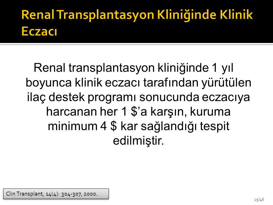 Renal Transplantasyon Kliniğinde Klinik Eczacı
