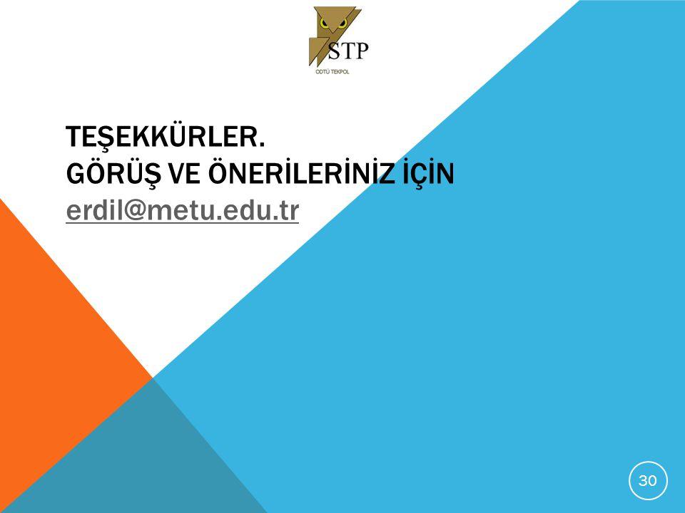 TEŞEKKÜRLER. Görüş ve Önerİlerİnİz İçİn erdil@metu.edu.tr