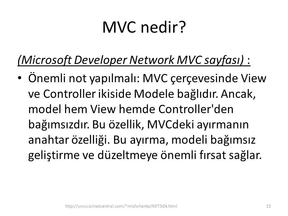 MVC nedir (Microsoft Developer Network MVC sayfası) :