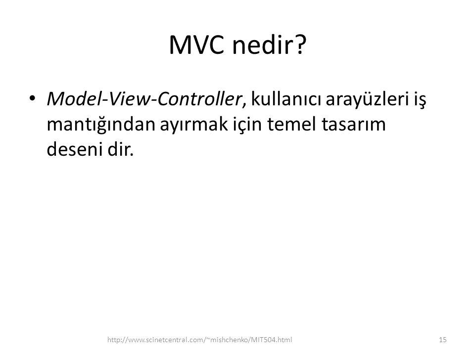 MVC nedir Model-View-Controller, kullanıcı arayüzleri iş mantığından ayırmak için temel tasarım deseni dir.