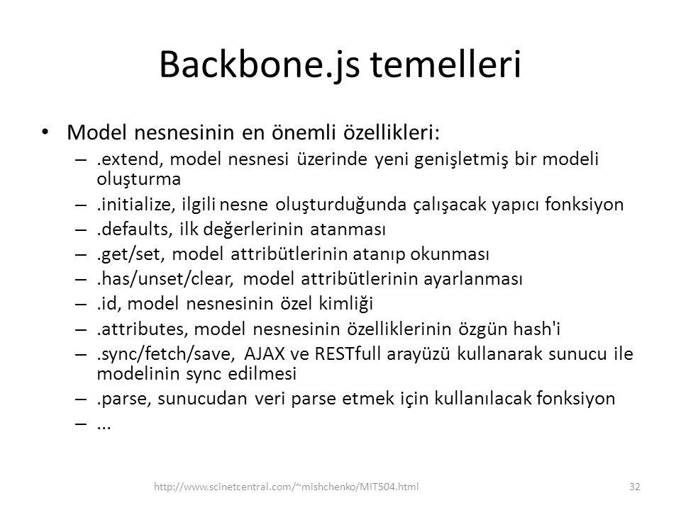 Backbone.js temelleri Model nesnesinin en önemli özellikleri: