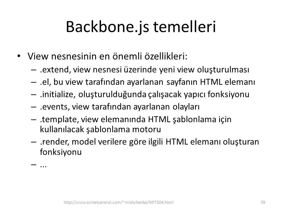 Backbone.js temelleri View nesnesinin en önemli özellikleri: