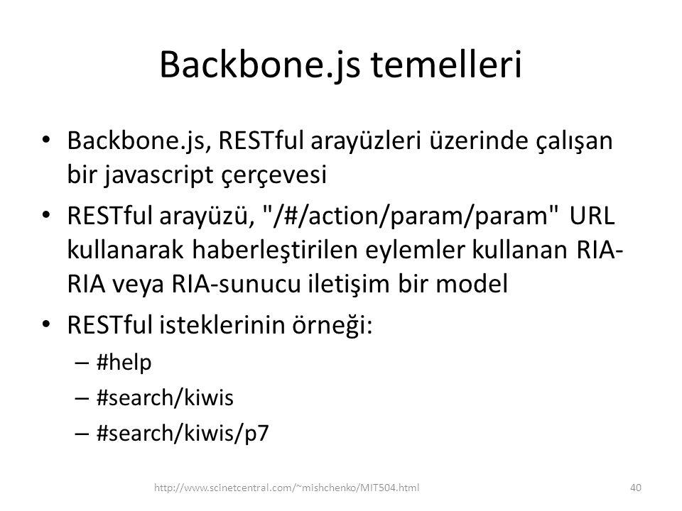 Backbone.js temelleri Backbone.js, RESTful arayüzleri üzerinde çalışan bir javascript çerçevesi.