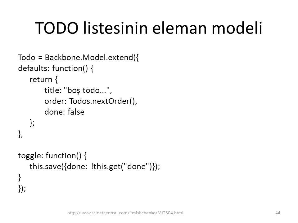 TODO listesinin eleman modeli