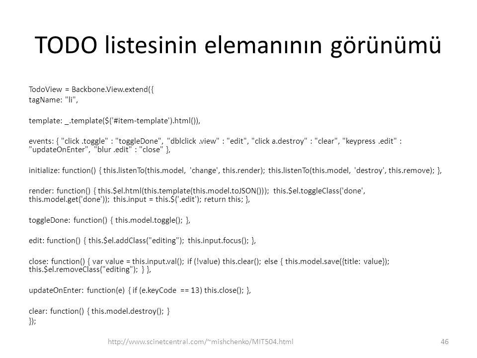 TODO listesinin elemanının görünümü