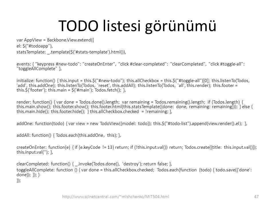 TODO listesi görünümü