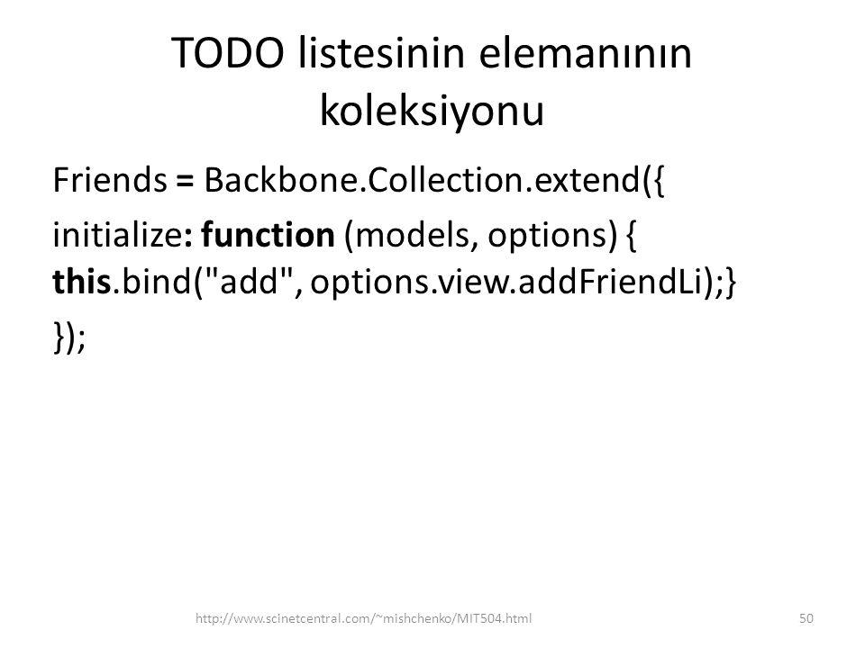 TODO listesinin elemanının koleksiyonu