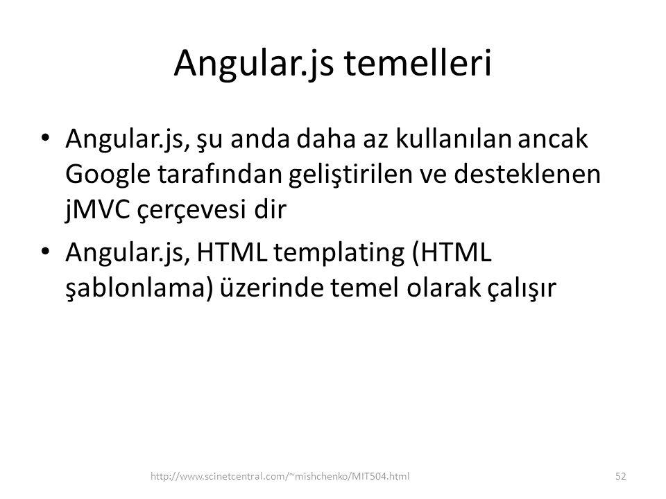Angular.js temelleri Angular.js, şu anda daha az kullanılan ancak Google tarafından geliştirilen ve desteklenen jMVC çerçevesi dir.