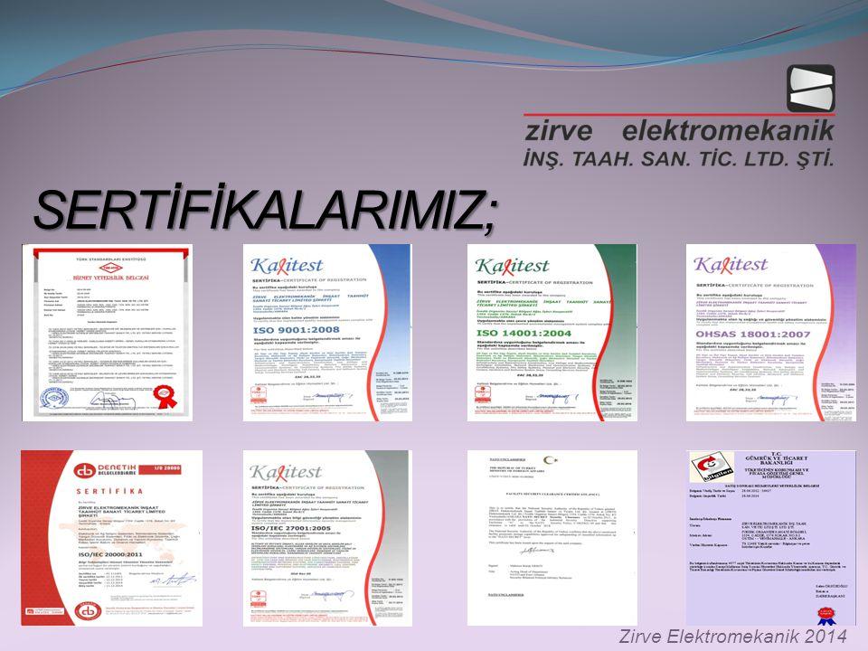 SERTİFİKALARIMIZ; Zirve Elektromekanik 2014