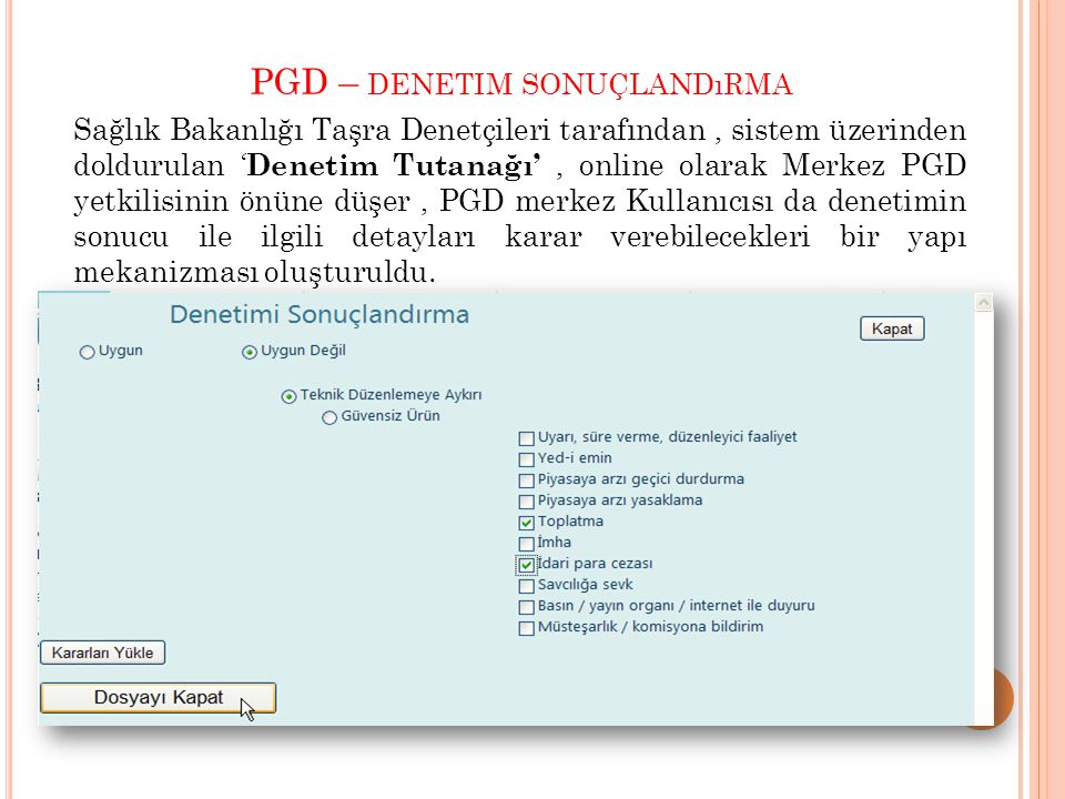 PGD – denetim sonuçlandırma