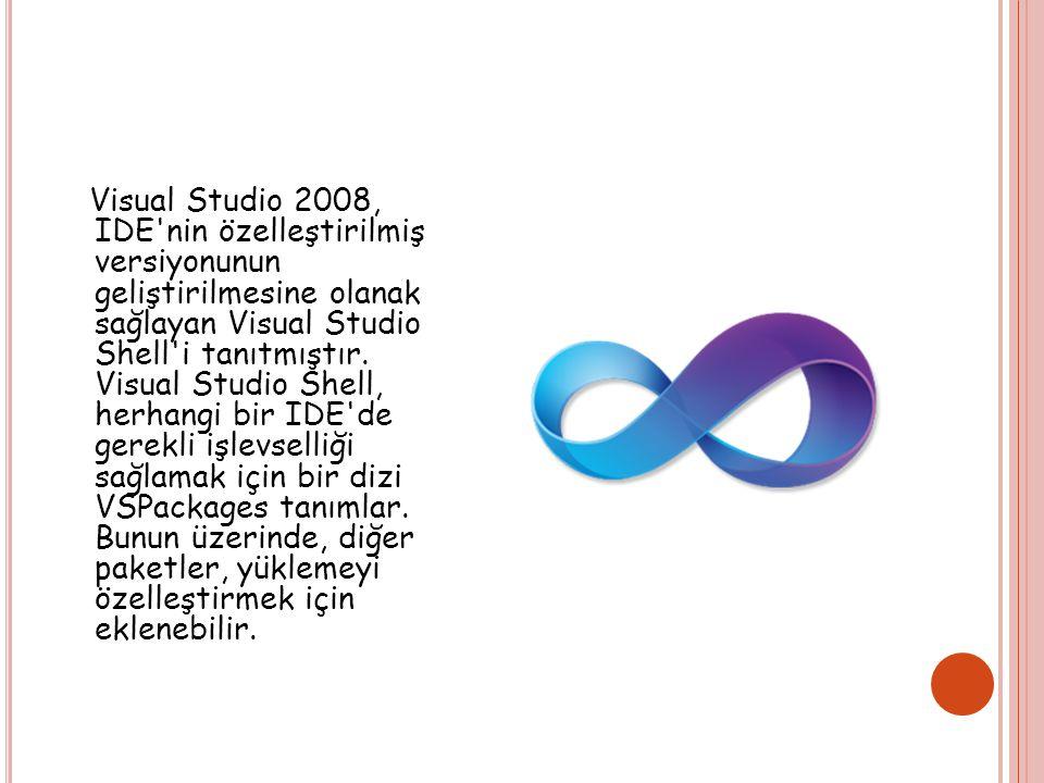 Visual Studio 2008, IDE nin özelleştirilmiş versiyonunun geliştirilmesine olanak sağlayan Visual Studio Shell i tanıtmıştır.