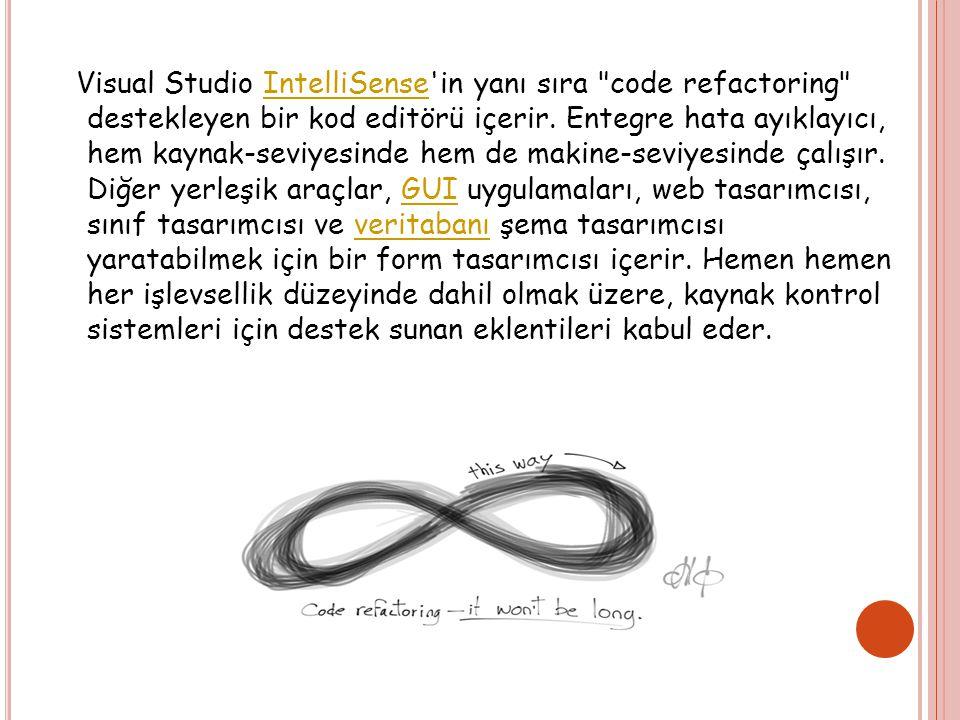 Visual Studio IntelliSense in yanı sıra code refactoring destekleyen bir kod editörü içerir.