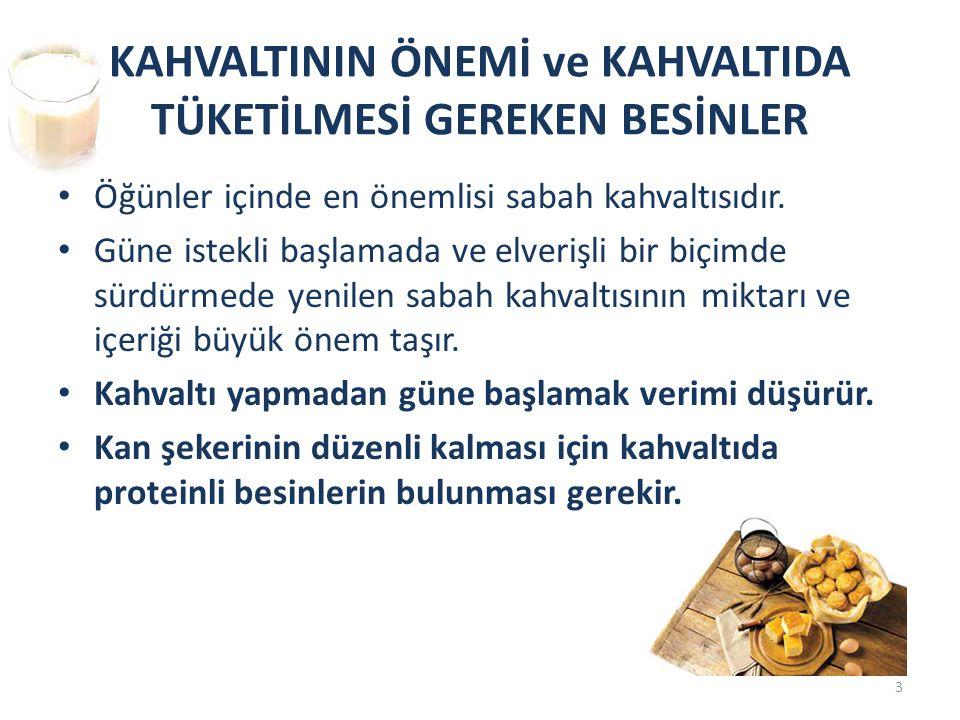 KAHVALTININ ÖNEMİ ve KAHVALTIDA TÜKETİLMESİ GEREKEN BESİNLER
