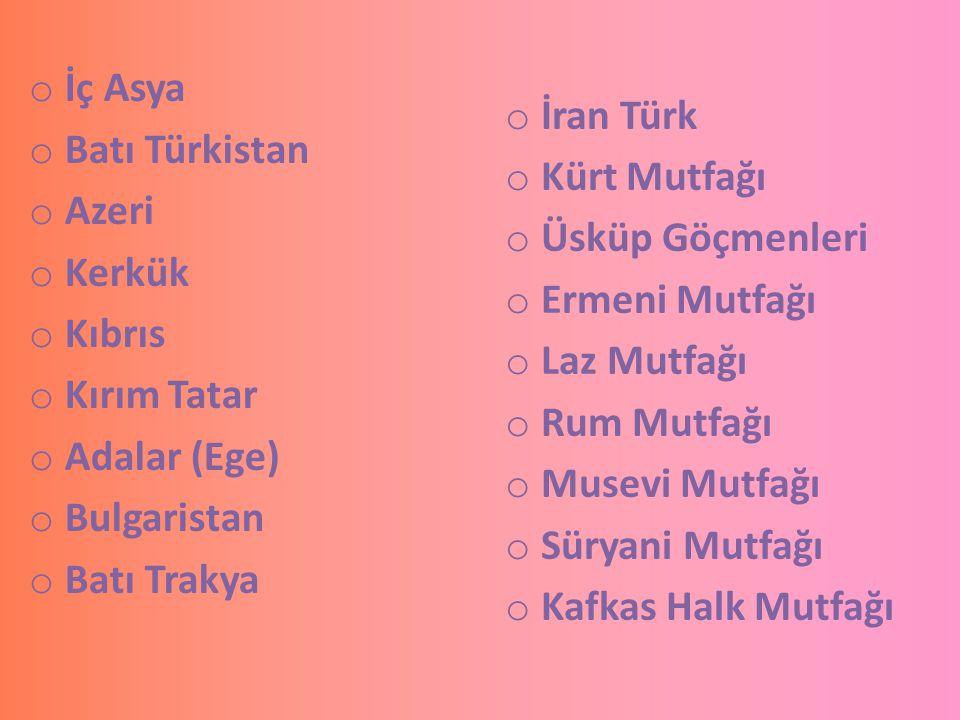 İç Asya Batı Türkistan. Azeri. Kerkük. Kıbrıs. Kırım Tatar. Adalar (Ege) Bulgaristan. Batı Trakya.