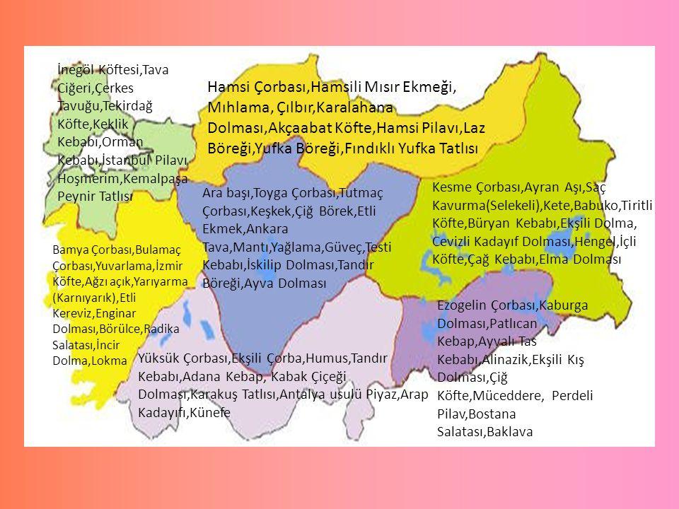 İnegöl Köftesi,Tava Ciğeri,Çerkes Tavuğu,Tekirdağ Köfte,Keklik Kebabı,Orman Kebabı,İstanbul Pilavı Hoşmerim,Kemalpaşa Peynir Tatlısı