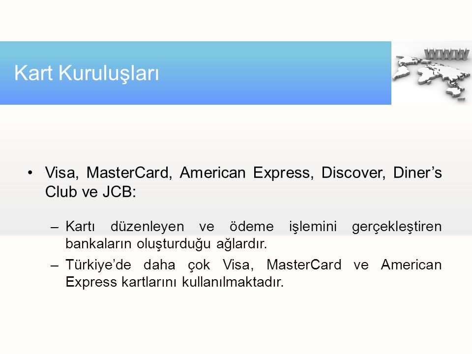 Kart Kuruluşları Visa, MasterCard, American Express, Discover, Diner's Club ve JCB: