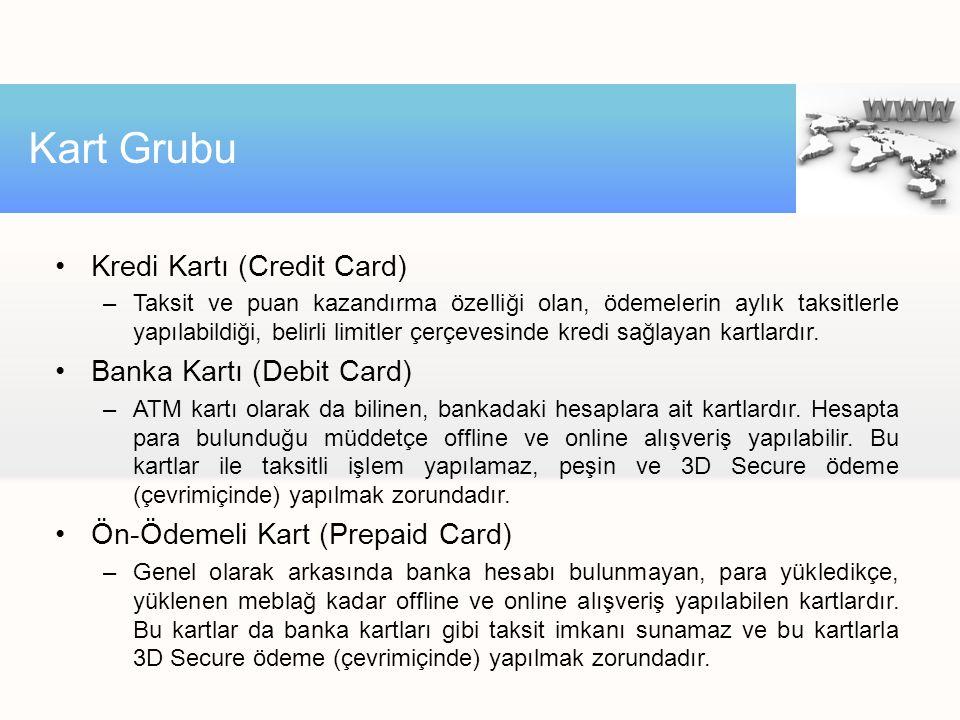 Kart Grubu Kredi Kartı (Credit Card) Banka Kartı (Debit Card)