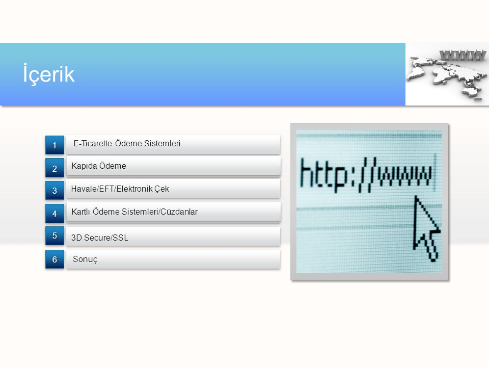 İçerik E-Ticarette Ödeme Sistemleri Sonuç 3D Secure/SSL 6 5 4 3 2 1