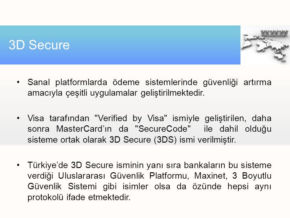 3D Secure Sanal platformlarda ödeme sistemlerinde güvenliği artırma amacıyla çeşitli uygulamalar geliştirilmektedir.