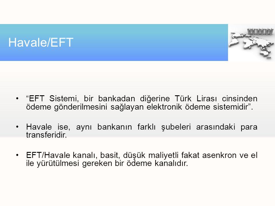 Havale/EFT EFT Sistemi, bir bankadan diğerine Türk Lirası cinsinden ödeme gönderilmesini sağlayan elektronik ödeme sistemidir .