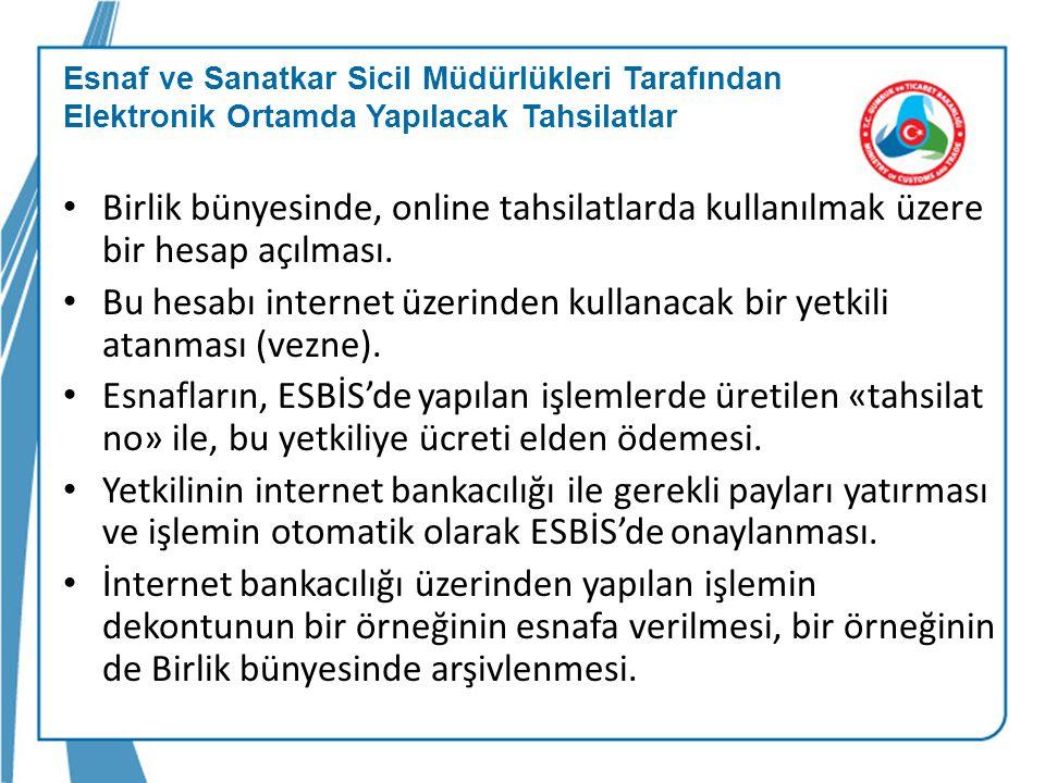 Bu hesabı internet üzerinden kullanacak bir yetkili atanması (vezne).