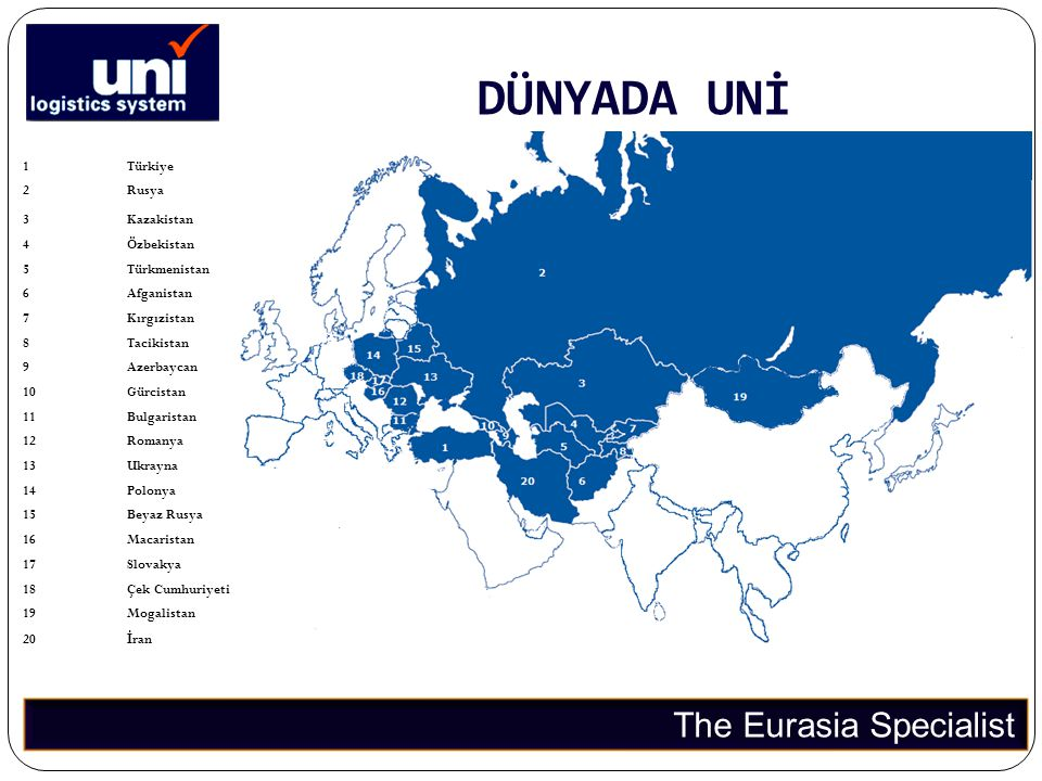 DÜNYADA UNİ The Eurasia Specialist 1 Türkiye 2 Rusya 3 Kazakistan