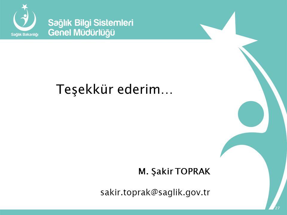 Teşekkür ederim… M. Şakir TOPRAK sakir.toprak@saglik.gov.tr
