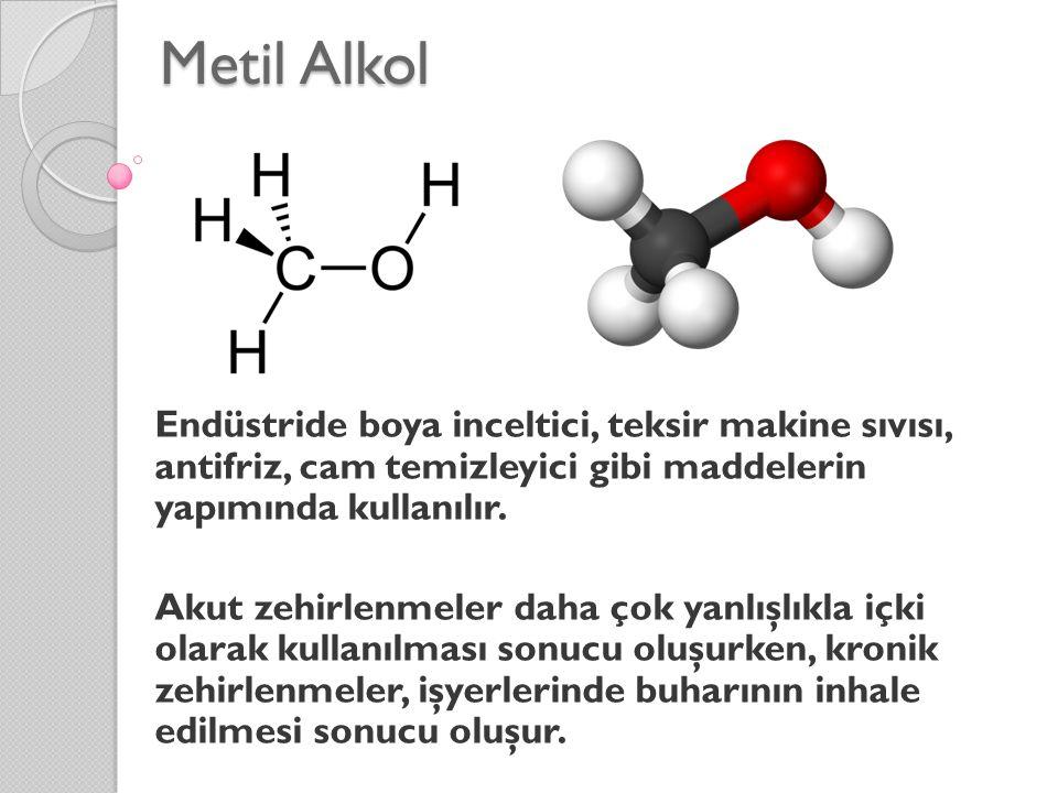 Metil Alkol Endüstride boya inceltici, teksir makine sıvısı, antifriz, cam temizleyici gibi maddelerin yapımında kullanılır.