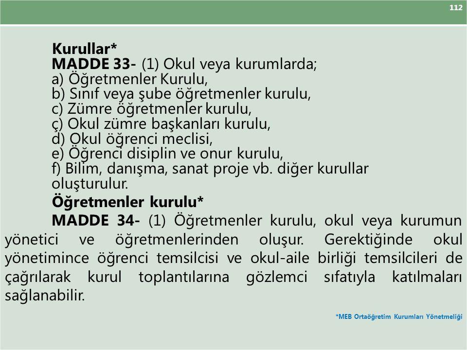 MADDE 33- (1) Okul veya kurumlarda; a) Öğretmenler Kurulu,