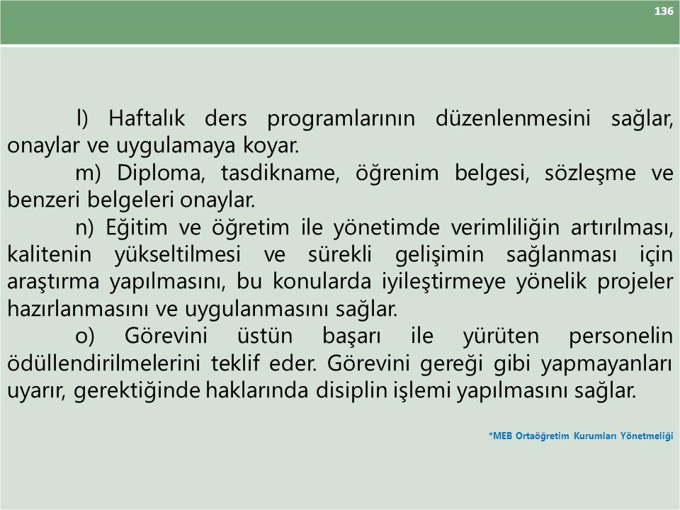 136 l) Haftalık ders programlarının düzenlenmesini sağlar, onaylar ve uygulamaya koyar.