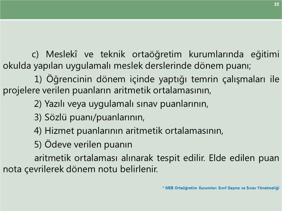 2) Yazılı veya uygulamalı sınav puanlarının,