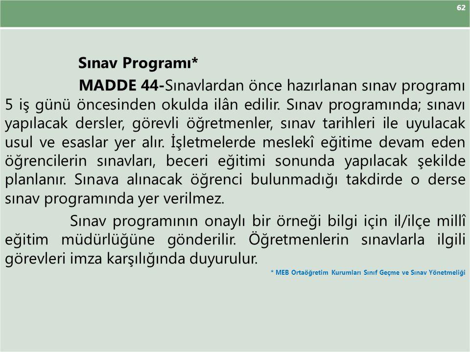 62 Sınav Programı*